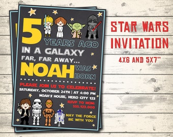 "Star Wars invitation, Star Wars birthday invitation, Star Wars party invitation! Personalized invite, 4x6"" and 5x7"" sizes!"