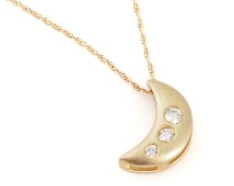 "14k yellow gold diamond ""Crescent Moon"" pendant"