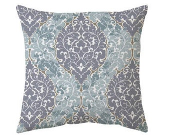 light blue pillow gray and blue - pillow cover only - cushion cover -ZIPPER CLOSURE