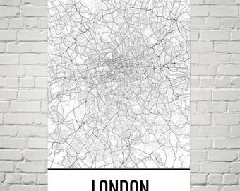 London Print, London Map, London Art, Map of London England, London Map Art, London Poster, London Gift, London Decor, London UK, London