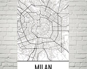 Milan Map, Milan Art, Milan Print, Milan Italy Poster, Milan Wall Art, Milan Poster, Milan Gift, Milan Decor, Milan Map Art, Milan Art Print