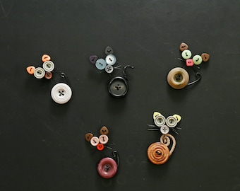 Button kitty cat magnets