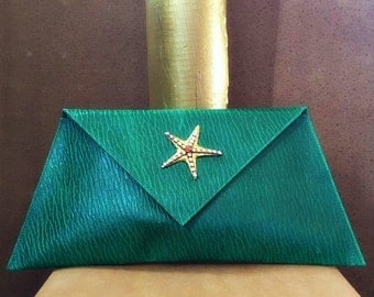 Unique, Clutch bag, Handmade, Envelope Clutch, Green Clutch Starfish buckle with czech crystals!