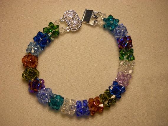Swarovski Multi Colored Crystal Bracelet w/ Silver Plated Clasp