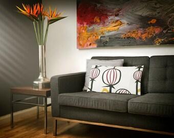 Graphic bud floral print, cotton cushion cover, retro floral cushion, home accessories, decorative pillow, throw pillow, cushion, home decor
