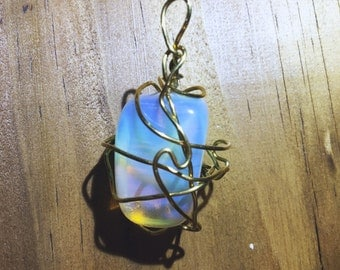 Rainbow Wrapped Stone Necklace