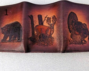 Deer, Bear, and Turkey Leather Wallet