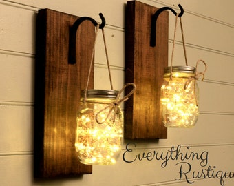 Mason Jar Wall Decor, Mason Jar Decor, Mason Jar Lanterns, Rustic Mason Jar, Wall Sconces,  Shabby Chic, Rustic Decor, Set of 2