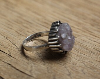 Silver (835) Ring set with Rough Amethyst, size 6 * free shipping *