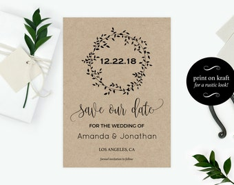 Printable Rustic Kraft Save The Date Card   Save Our Date Card   Save The  Date