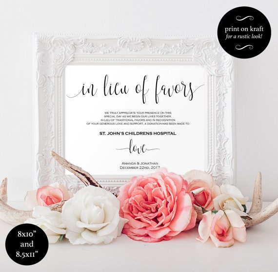 In lieu of favors sign - Thank you sign . Wedding favor sign - Thank You Charity Printable Sign - Wedding Favor Donation Cards #WDH0055