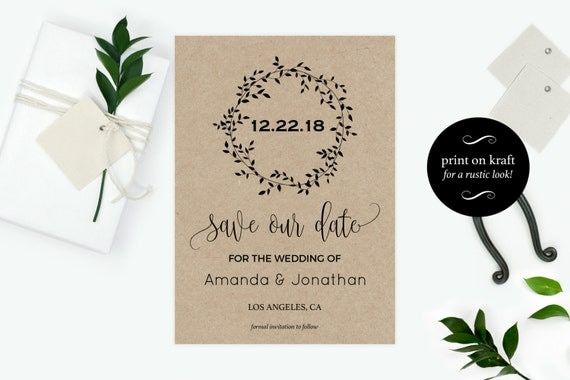 Printable Rustic Kraft Save the Date Card - Save our Date Card - Save the Date Printable - Rustic Wedding - Downloadable wedding #WDH0105