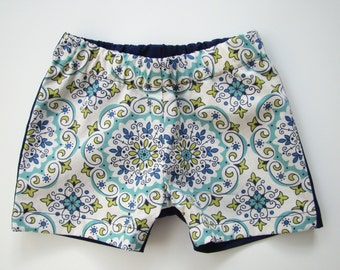 Blue and Green Medallion Print Toddler Shorts