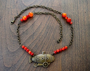Vintage Airship and Gear Necklace