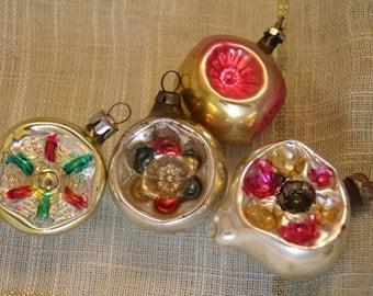 4 Lanterns Set Antique Christmas Ornaments Soviet Vintage Tree Decoration Ornament Silver Glass Collection