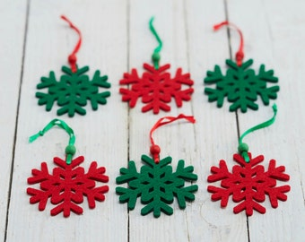 Set of Six Red & Green Snowflake Christmas Decorations