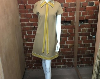 1960's Mary Quant style crimp mod scooter dress with stripes and tie M