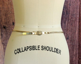 SALE vintage gold skinny belt, 1970s snake chain belt, womens size small
