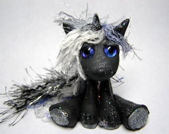 """OOAK Black Unicorn Rag Doll Faerie Trollfling Troll boy """"Dayne"""" by Amber Matthies"""