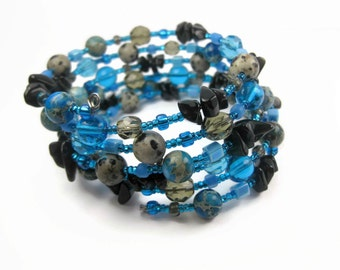 Blue Black And Grey Beaded Memory Wrap Bracelet, Six Loop Wrap, Jasper and Obsidian