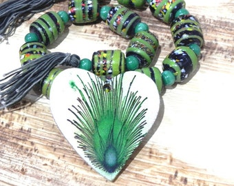 """Tribal green furnace glass beads string 15"""" with a free matching  pendant /craft supplies/jewelry making"""