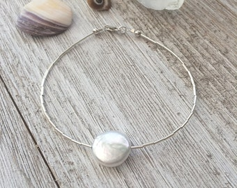 White Freshwater Coin Pearl Stacking Bracelet, Sterling Silver, Dainty Jewelry