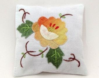 Rose Petal Sachet - Flower Applique - Embroidered Vintage Linens - Dried Rose Petals - Potpourri - Rose Sachet