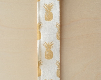 """2 Yards Gold Pineapples on Natural Cotton Wide Ribbon Pineapple Ribbon Symbol of Hospitality 1.5"""" Wide Cotton Ribbon"""