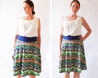 Size MEDIUM Women's Skirt Zig Zag print Market Skirt Full Aline Skirt stretch Cotton Jersey Swing Skirt knee length twirl skirt