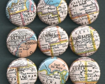 One Inch Magnet Set - Vintage Michigan Map - One of a kind set