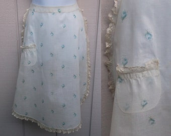 Vintage 40s SHEER Blue Rose Floral w/ Lace Hostess Apron of Organza