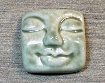 Large Square Face Ceramic Cabochon Stone in Pale Flesh