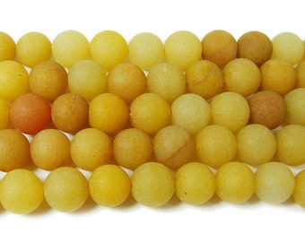 Yellow Jade Matte Round Gemstone Beads