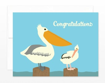 SALE Baby Pelican Congratulations - New Baby, Child Adoption Card - california baby card, new mom card, new parents card, baby shower card
