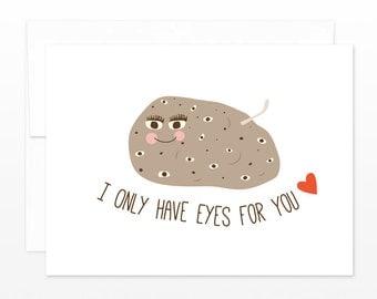 Funny Wedding, Valentine, Anniversary Card - Love Potato / Spud Eyes For You