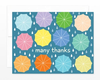 Thank You Card, Umbrella Raindrops Greeting Card - Many Thanks Card, Cute Thank You Card, Wedding Thank You Card, Shower Thank You Card