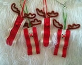 1 Bacon Reindeer ornament - Christmas Holiday themed Rudolph the red nose reindeer breakfast treat - two options meaty or fatty bacon.