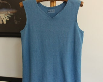 mens v-neck hemp tank top - hand dyed in royal blue - size medium - hemp and organic cotton