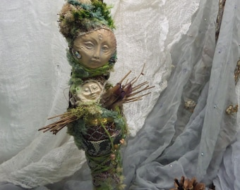 Equinox Moon, Rustic Home Décor, Good fortune goddess, Spirit of Protection, Spirit of Compassion, ooak Art Doll, Assemblage art.