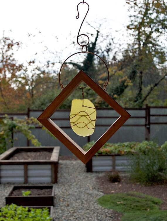 Sun Catcher Yellow Sea Glass Copper Wrapped Cedar Frame beach glass stained glass suncatcher