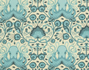Tula Pink Salt Water Octo Garden in Aqua - Free Spirit cotton quilt fabric - one yard or by the yard, octopus fabric, tulatroops, tula pink