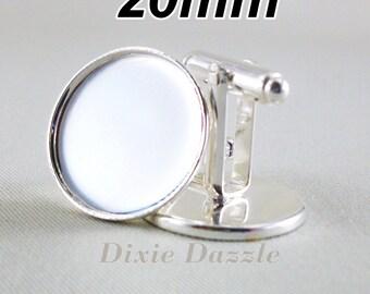 ON SALE 10 pieces  (5 pair) Silver cufflinks, cufflink base, cufflink supplies, silver cufflinks
