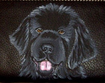 Newfoundland Dog Custom Painted Ladies Leather  Wallet