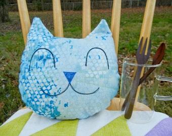 Cat smiley mini pillow - Blue