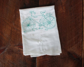 Bicycle Tea Towel, Bike Diagram Tea Towel, Kitchen Towel, Apartment dish Towel, White Cotton Dish Towel, Housewarming Gift Hostess gift