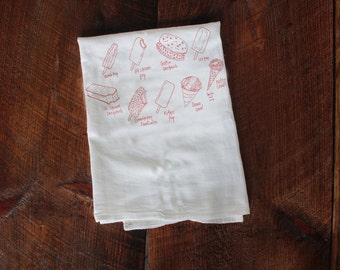 Ice Pops Tea Towel, ice pops towel Kitchen Towel, summer dish Towel, White Cotton Towel, Housewarming Gift desserts ice cream