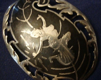 Vintage Siam Sterling Silver Niello Goddess Oval Pin Brooch
