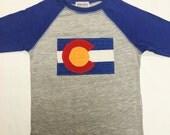 Boys Colorado Flag Baseball Tee- Blue Boys Baseball Tee