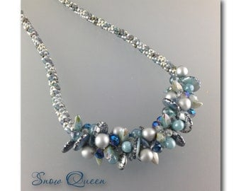 """DarleenMB, SRA, beaded kumihimo, rope necklace, """"The Snow Queen"""""""