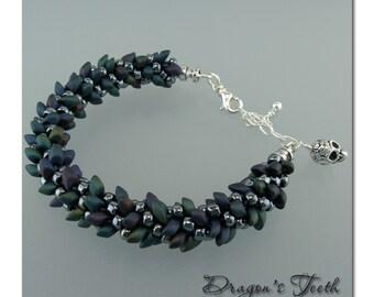DarleenMB, SRA, beaded kumihimo bracelet, Dragon's Teeth